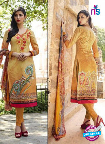AZ 1084 Yellow Lawn Cotton Pakistani Suit