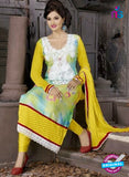 SC 12307 Yellow and White Georgette Party Wear Straight Suit Online