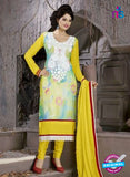 SC 12307 Yellow and White Georgette Party Wear Straight Suit