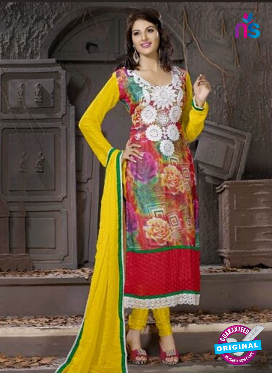 SC 12308 Yellow and Red Georgette Party Wear Straight Suit