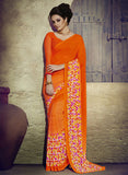 NS11936  Fanta Orange and Multicolor Daily Wear Designer Chiffon Saree