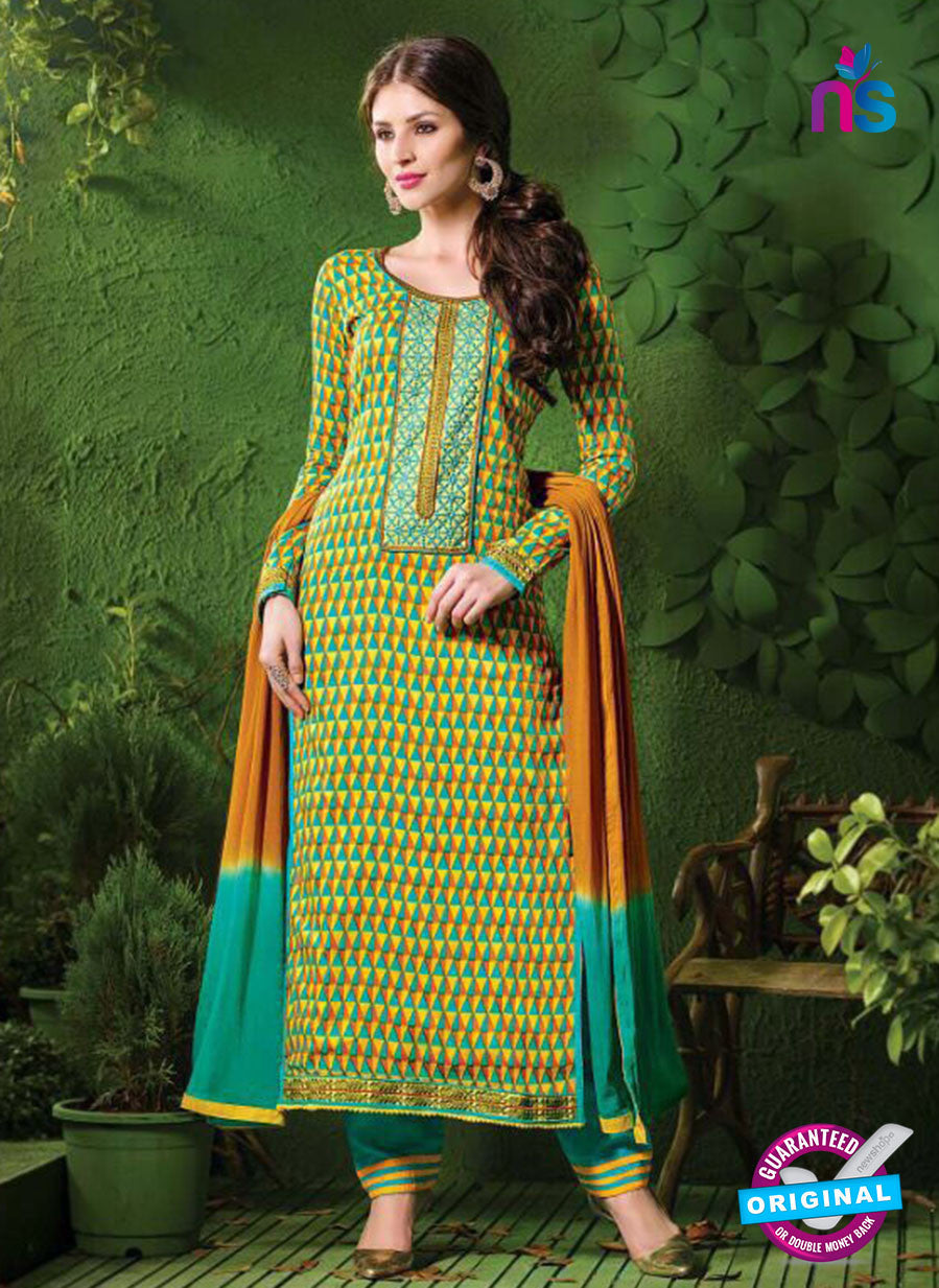 NS10212 Yellow and Sea Green Satin Cotton Straight Suit
