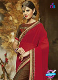 SC 14271 Brown Jacquard Party Wear Saree