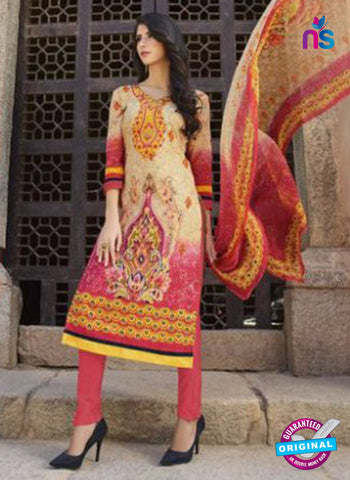 AZ 1087 Beige and Peach Lawn Cotton Pakistani Suit