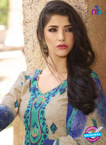 AZ 1088 Beige and Blue Lawn Cotton Pakistani Suit