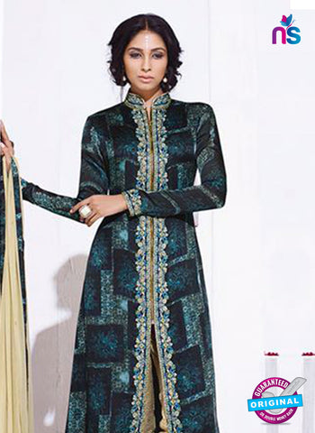 AZ 5147 Green Satin Georgette Indo Western Suit