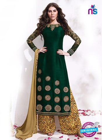 Karma 8018 Green Raw Silk Party Wear  Suit