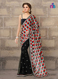 NS11327 Black and Red Party Wear Georgette Saree