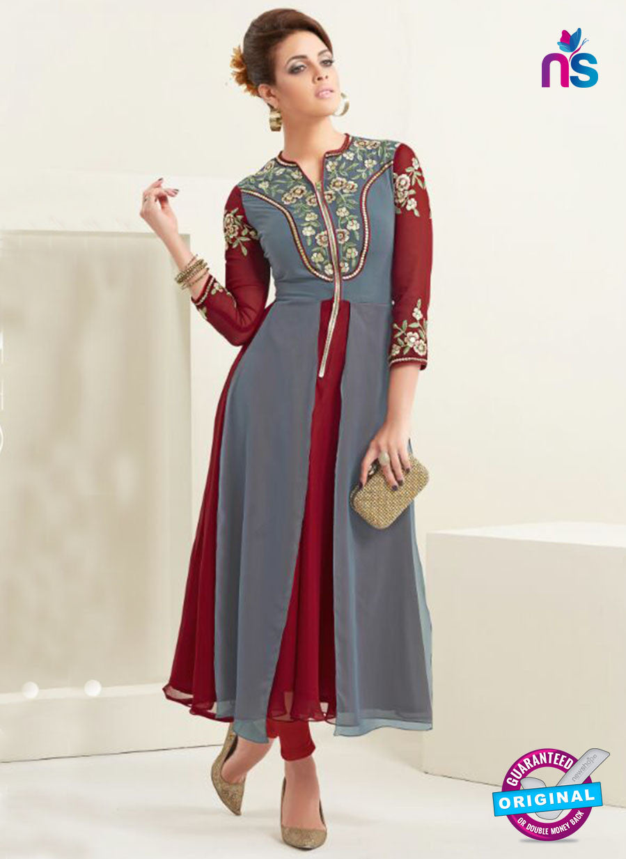 AZ 2357 Grey and Maroon Semi Georgette Party Wear Tunic