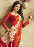 NS11937  Red and Ivory Daily Wear Designer Chiffon Saree