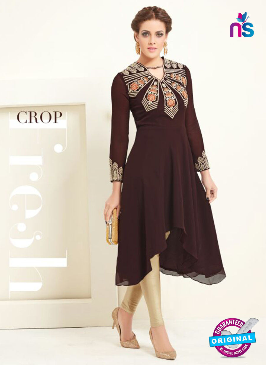 AZ 2362 Brown Semi Georgette Party Wear Tunic