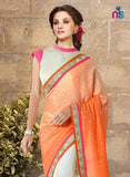 NS11328 Orange and Pink Party Wear Georgette Saree