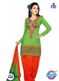 NS11041 Green and Red Banarasi Jacquard Dress Material