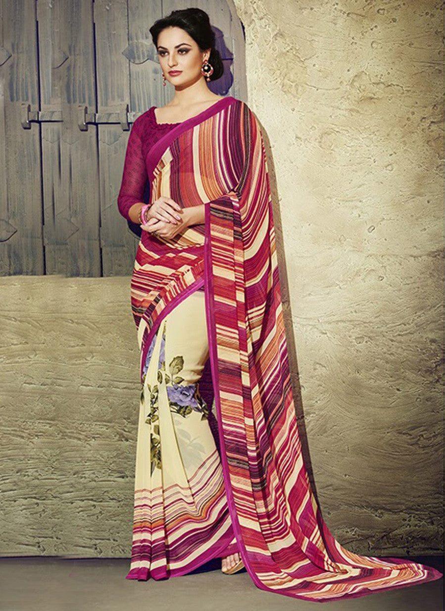 NS11940  Dakr Magenta and Ivory Daily Wear Designer Chiffon Saree