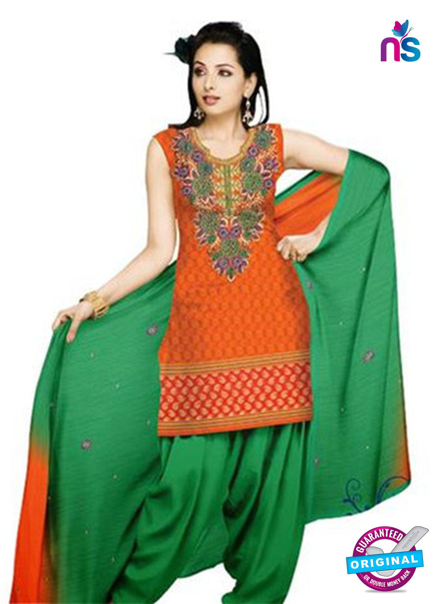 NS11042 Orange Red and Green Banarasi Jacquard Dress Material