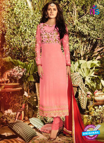 SC 13907 Pink Georgette Occasional Wear Long Designer Straight Suit