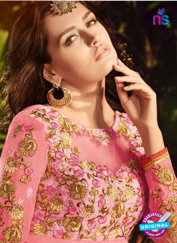 SC 13907 Pink Georgette Occasional Wear Long Designer Straight Suit Online