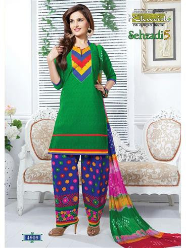 NS11670 Green Cotton Patiyala Suit