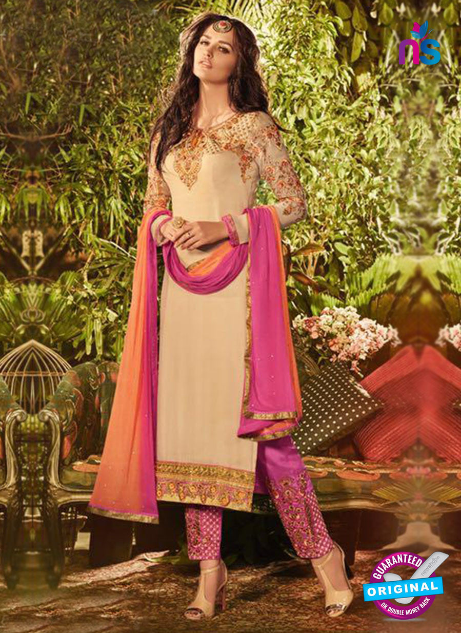 SC 13911 Beige and Pink Georgette Occasional Wear Long Designer Straight Suit