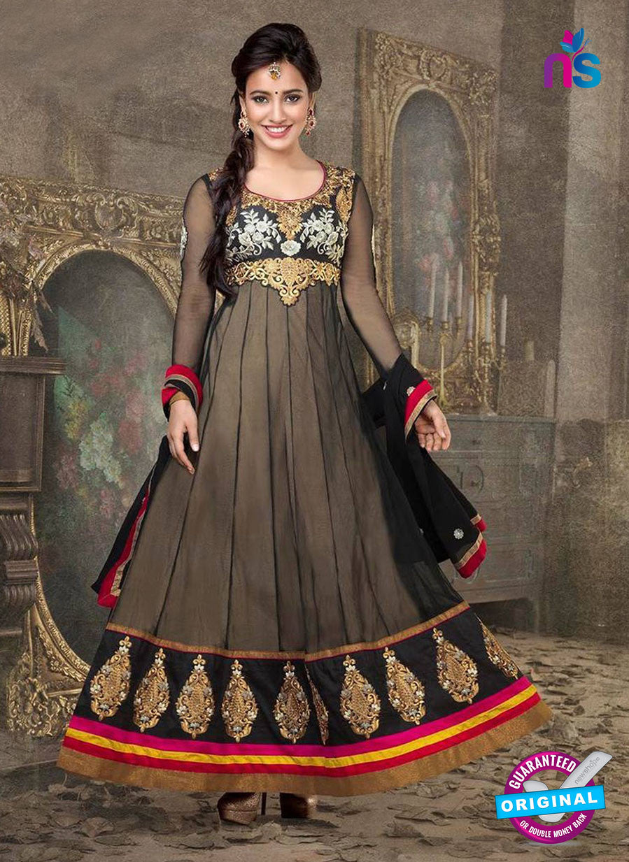 Fiona 807 Black and Golden Embroidered Georgette Party Wear Anarkali Suit