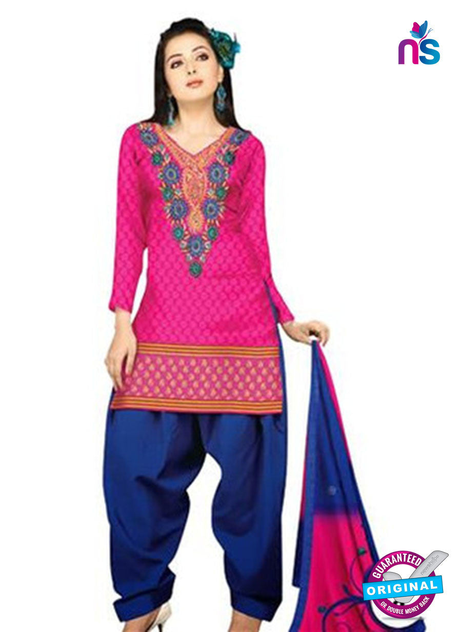 NS11044 Pink and Blue Banarasi Jaquard Dress Material