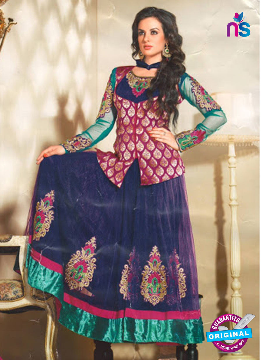 NS10069 A Magenta and Blue Anarkali Suit