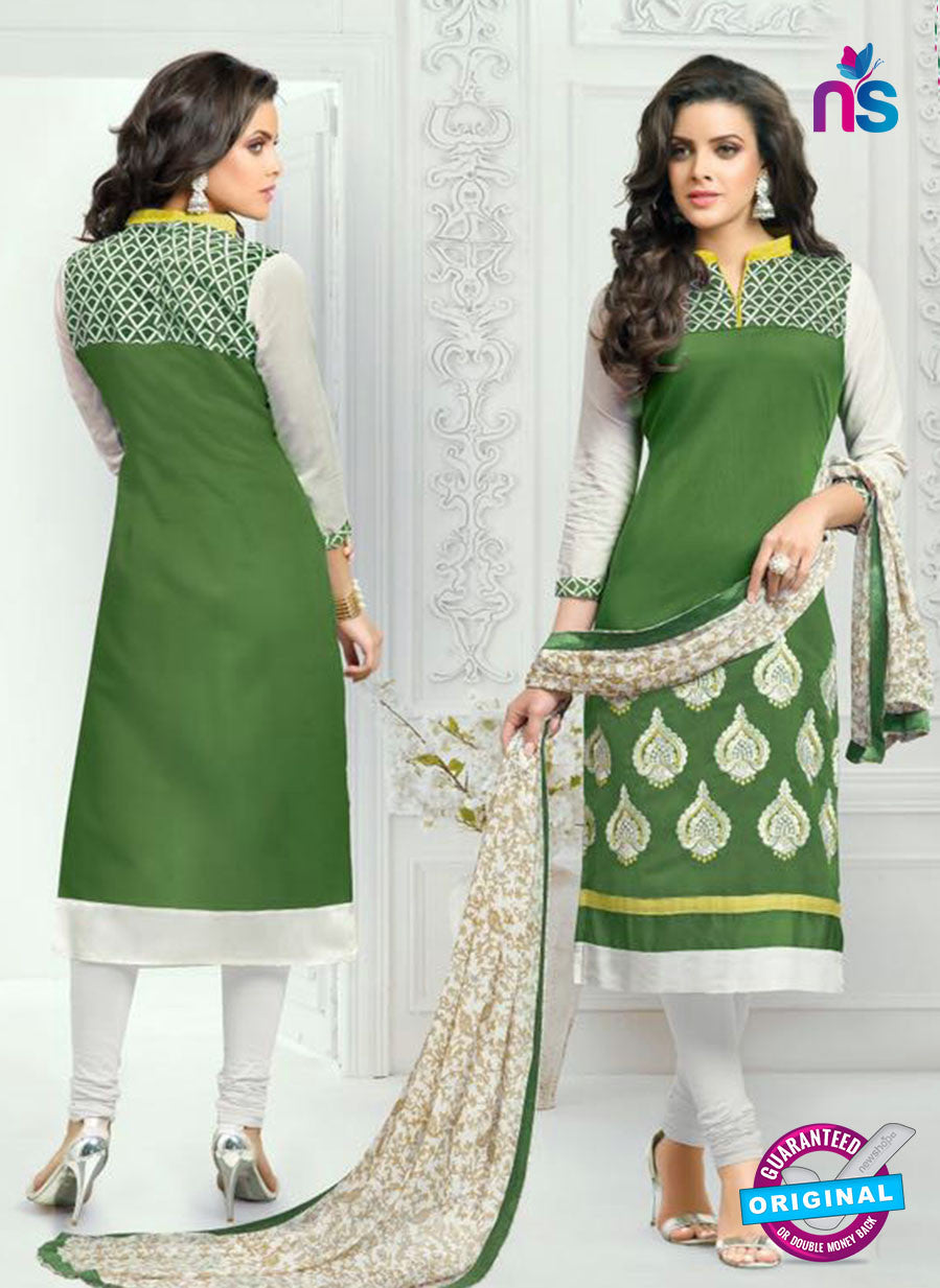 SC 13365 White and Green Chanderi Cotton Designer Long Straight Suit