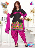 NS12136 babydoll- Black and Magenta Patiyala Suit