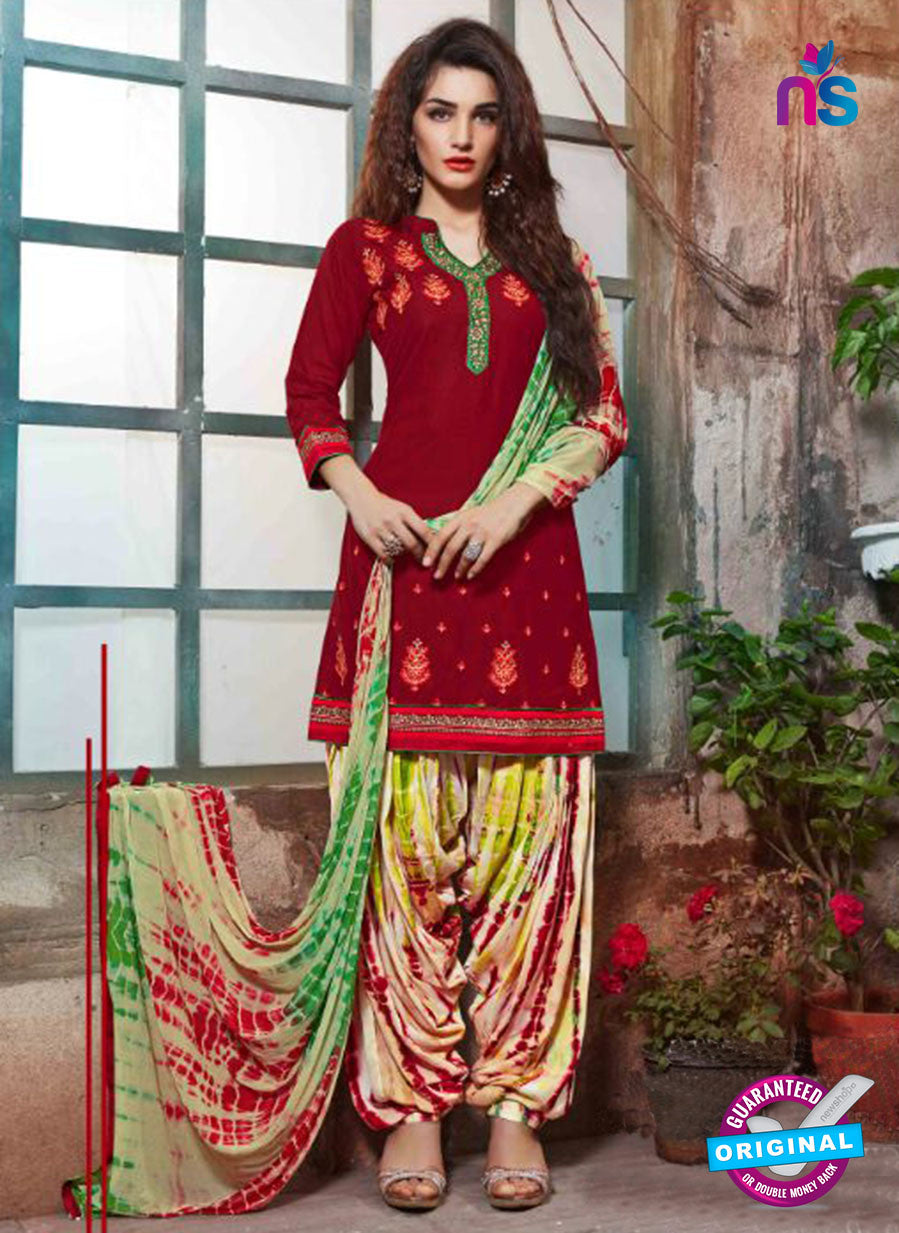 SC 14193 Maroon Cambric Cotton Patiala Suit
