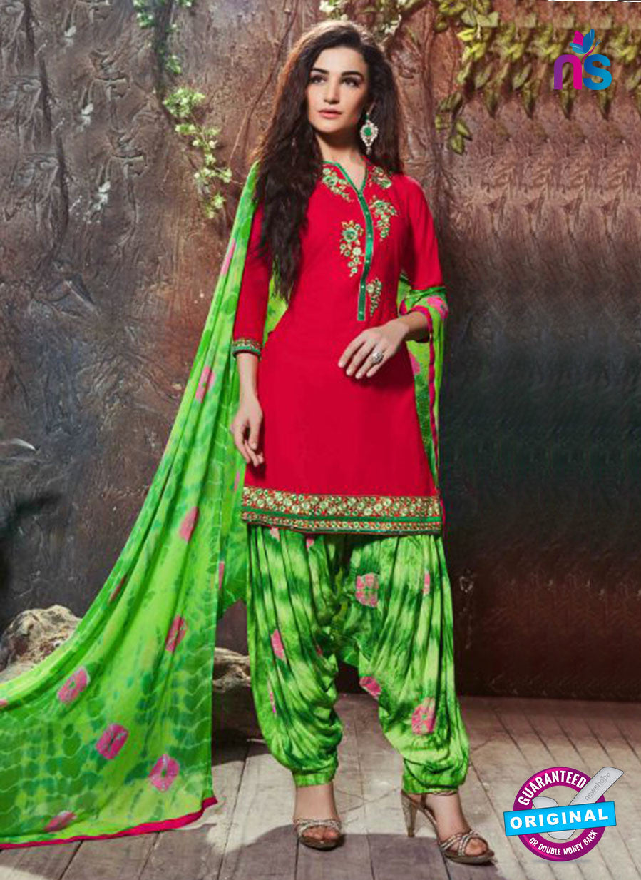 SC 14195 Red Cambric Cotton Patiala Suit