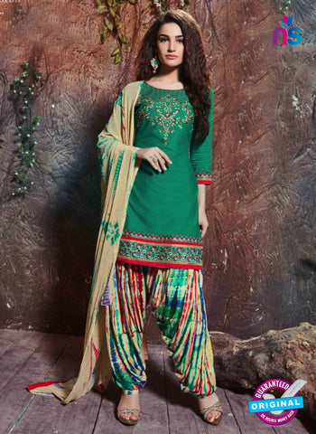 SC 14198 Green Cambric Cotton Patiala Suit