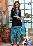 SC 14199 Black Cambric Cotton Patiala Suit