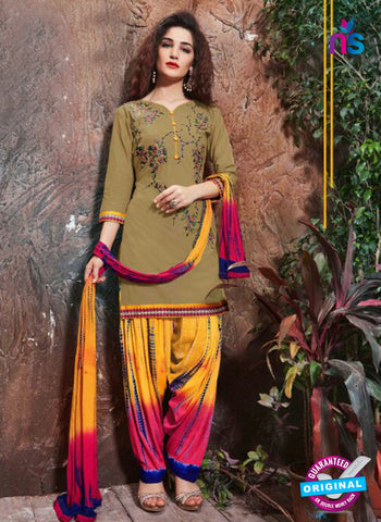 SC 14200 Mehndi Green Cambric Cotton Patiala Suit