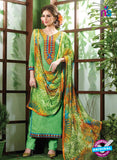 NS10530 Green and Yellow Pure Brasso Cotton Straight Suit