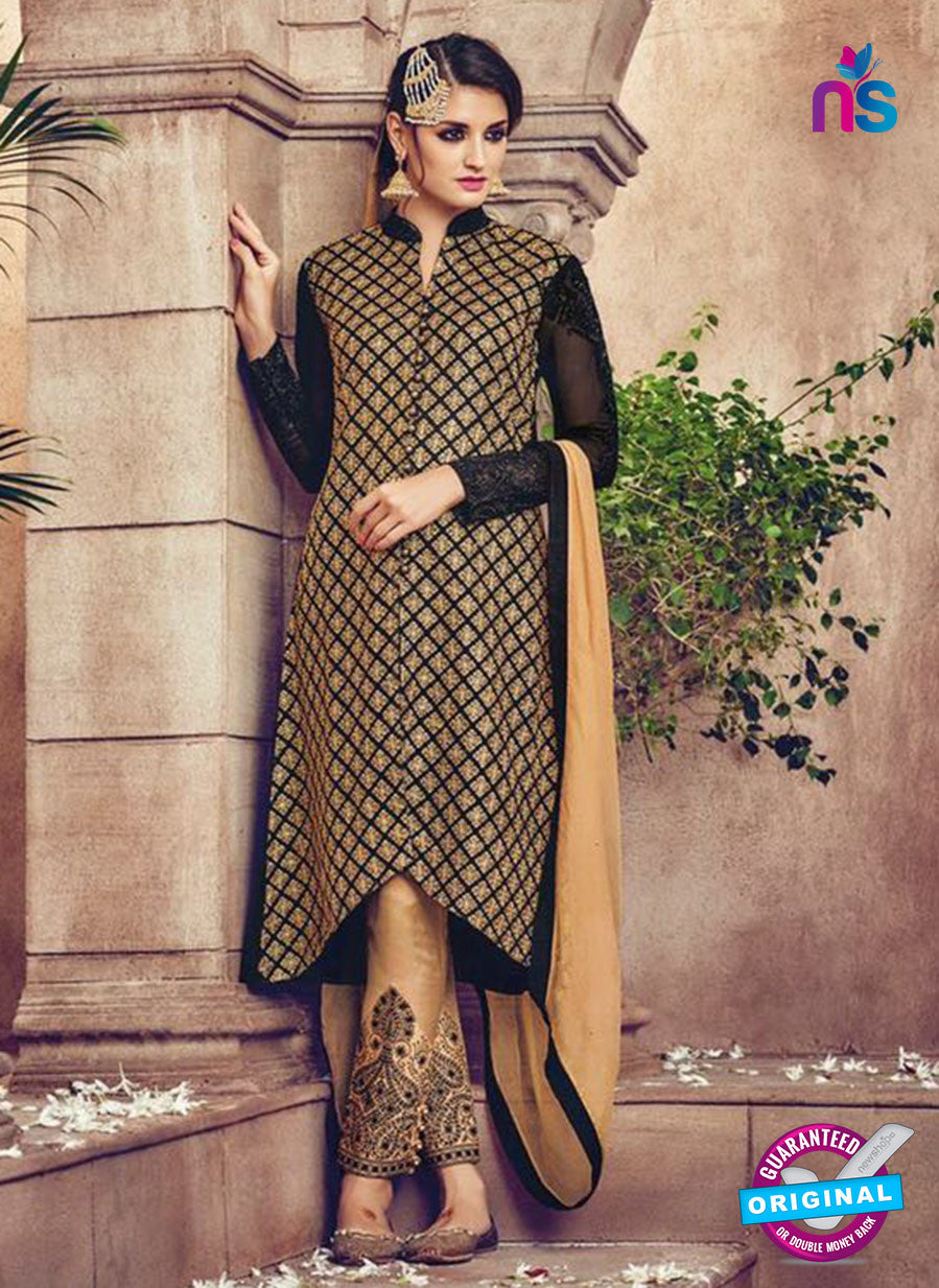 Omtex 81 Beige and Black Georgette Suit