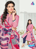 SC 13366 Pink and Blue Chanderi Cotton Designer Long Straight Suit