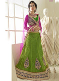 NS11803  Green & Purple Color Net Designer Lehenga