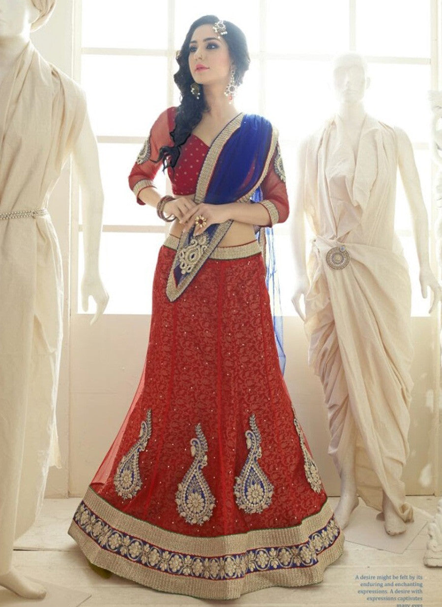 NS11805  Red & Blue Color Net Designer Lehenga