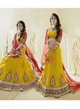 NS11806  Yellow & Red Color Net Designer Lehenga