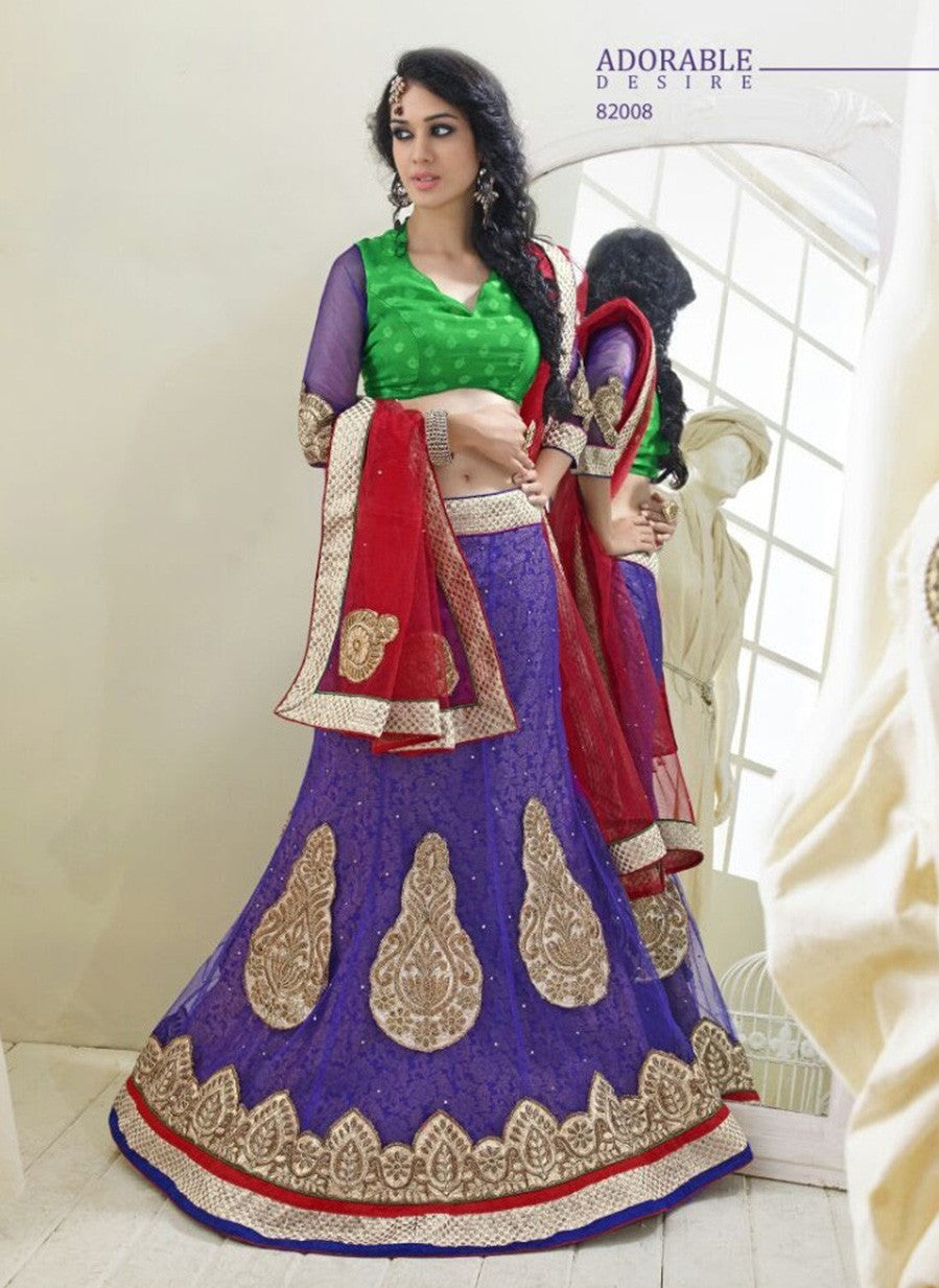 NS11807  Purple & Green Color Net Designer Lehenga