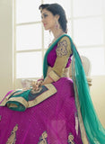 NS11810 Purple & sea Green Color Net Designer Lehenga