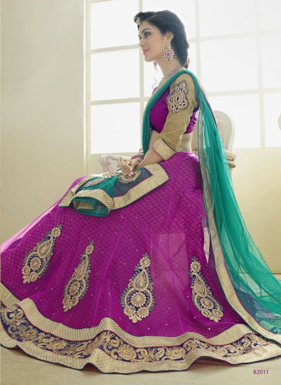 NS11810  Grey & sea Green Color Net Designer Lehenga