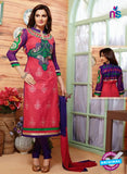 NS12138  Pink and Violet Straight Suit