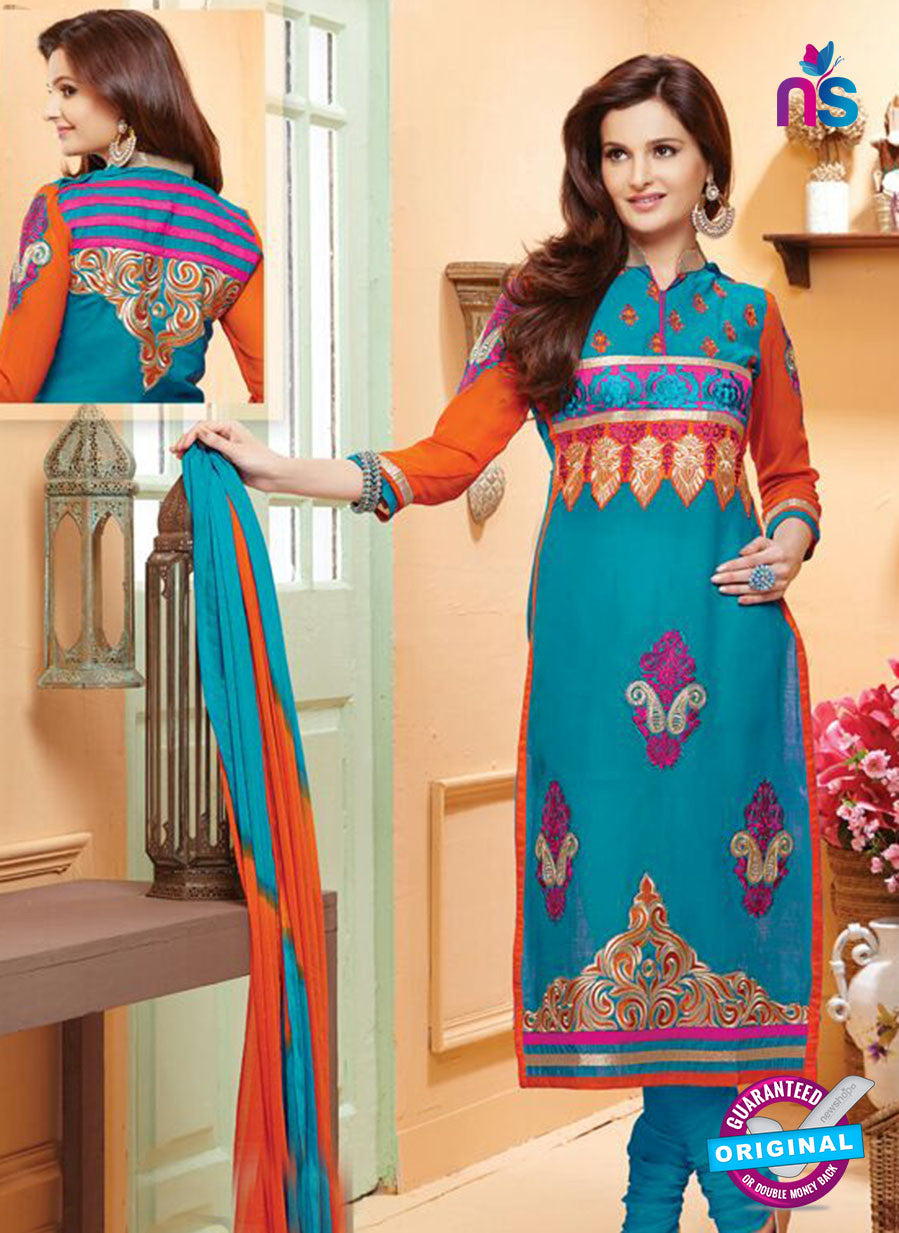 NS12139 Sky Blue and Orange Straight Suit