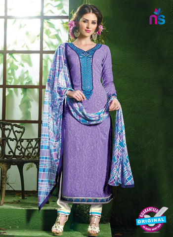 NS10531 Purple and White Pure Brasso Cotton Straight Suit