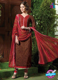 NS10532 Brown and Red Pure Brasso Cotton Straight Suit