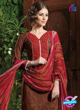 NS10532 Brown and Red Pure Brasso Cotton Straight Suit Online