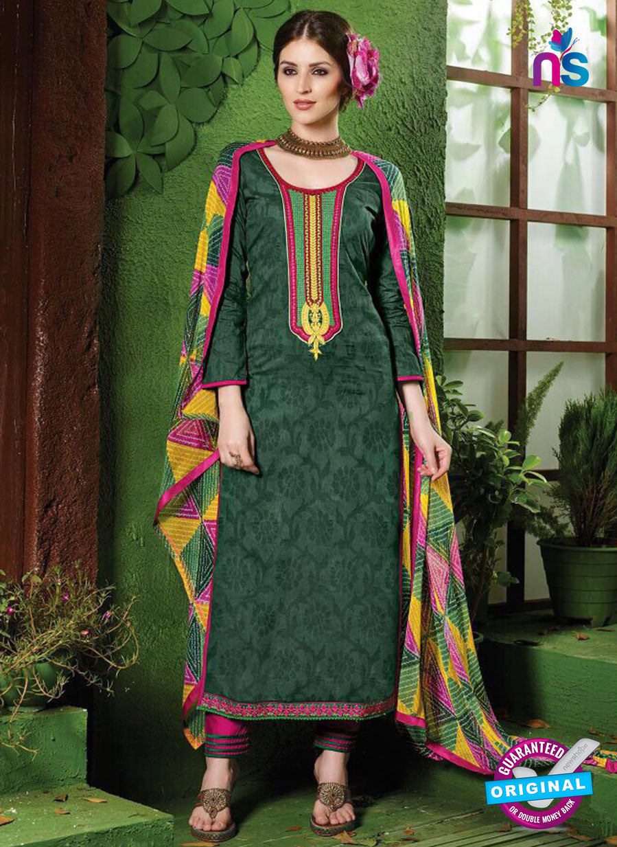 NS10533 Green and Pink Pure Brasso Cotton Straight Suit