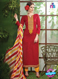 NS10534 Red and Yellow Pure Brasso Cotton Straight Suit