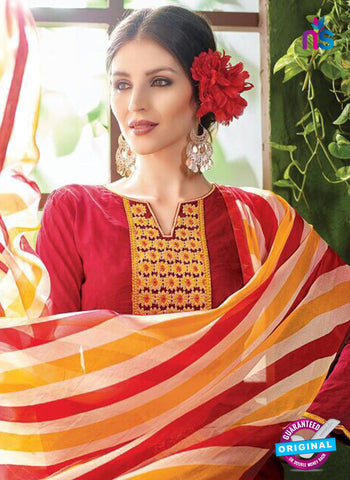 NS10534 Red and Yellow Pure Brasso Cotton Straight Suit Online